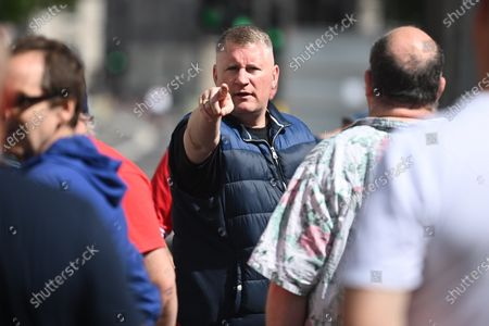 PAUL GOLDING of Britain First, joins A group of protesters guarding the Cenotaph, ahead of a Black Lives Matter demonstration In central London, where restrictions have been placed on all demonstrations. Black Lives Matter have called for the removal of statues from throughout the UK of historical characters involved in the slave trade, following the death of George Floyd in the U. S. A.