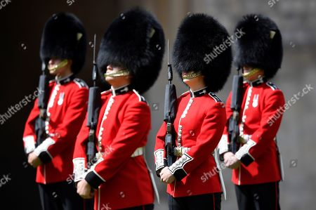 Members of the Welsh Guards perform in a ceremony to mark Britain's Queen Elizabeth's official birthday at Windsor Castle in Windsor, Britain, June 13, 2020. The Queen celebrates her 94th birthday this year.