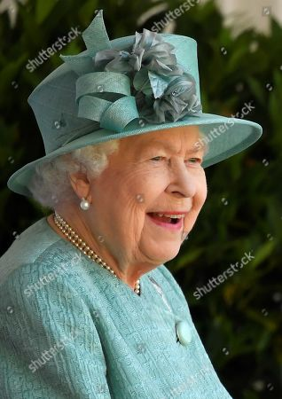 Stock Photo of Britain's Queen Elizabeth II attends a ceremony to mark her official birthday at Windsor Castle in Windsor, Britain, June 13, 2020. The Queen celebrates her 94th birthday this year.