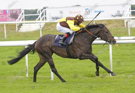 Au Clair De Lune and Ben Curtis win the Betway Novice Stakes at Doncaster. 14/6/2020 Pic Steve Davies, supplied by Hugh Routledge.
