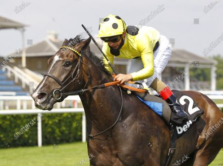 Fifth Position and Andrea Atzeni win the Heed Your Hunch At Betway Handicap at Doncaster from Anythingtoday. 14/6/2020 Pic Steve Davies, supplied by Hugh Routledge.