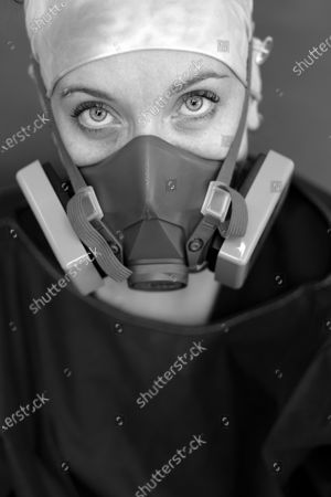Stock Image of Portrait of Amanda Hamilton, RN is a nurse in the ICU at Martin Luther King, Jr., Community Hospital on June 3, 2020 in the Willowbrook neighborhood located in South Los Angeles, CA. She is working at the hospital during the during the coronavirus pandemic.