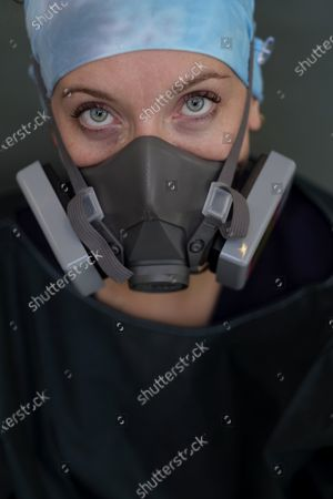 Stock Picture of Portrait of Amanda Hamilton, RN is a nurse in the ICU at Martin Luther King, Jr., Community Hospital on June 3, 2020 in the Willowbrook neighborhood located in South Los Angeles, CA. She is working at the hospital during the during the coronavirus pandemic.