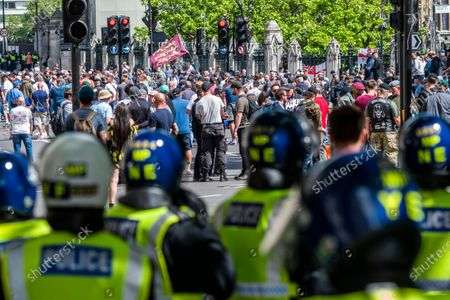 Editorial photo of Protest against the damage to statues by the Black Lives Matter protest a week ago., Westminster, London, UK - 13 Jun 2020