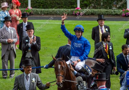 Jockey James Doyle wins the Diamond Jubilee Stakes on horse Blue Point, trained by Charlie Appleby and owned by Godolphin