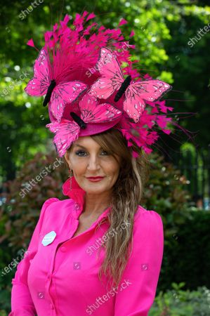 Milliner Ilda di Vico wears a bright pink dress and striking pink butterflies head piece to day four at Royal Ascot 2019