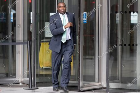 Shadow Justice Secretary David Lammy departs the BBC after appearing on the Andrew Marr Show.
