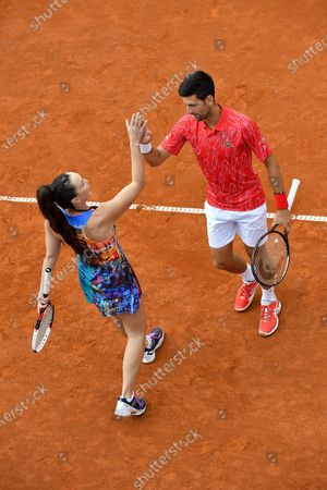 12.06.2020, , Belgrad, SBR, Tennis, Adria Tour ,   Novak Djokovic, Jelena Jankovic