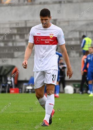 Stuttgart's Mario Gomez reacts during the German Bundesliga second division soccer match between Karlsruher SC and VfB Stuttgart, in Karlsruhe, Germany, 14 June 2020.