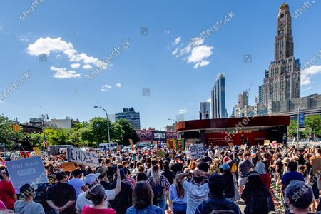 Protesters assemble during a Black Lives Matter protest next to Barclays Center in Brooklyn, New York City. Protests sparked world wide after the killing of George Floyd by the Minneapolis Police.