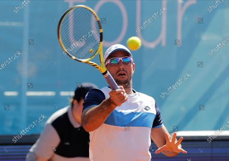 Viktor Troicki of Serbia returns the ball to Filip Krajinovic of Serbia during the Adria Tour tennis tournament in Belgrade, Serbia, 14 June 2020. The Adria Tour will be held until 05 July in a number of Balkan countries.