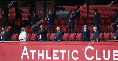 Athletic Bilbao's President, Aitor Elizegi (3-R), chats with Atletico Madrid's counterpart, Enrique Cerezo (2-R) during the LaLiga soccer match between Athletic Bilbao and Atletico Madrid, in Bilbao, Basque Country, northern Spain, 14 June 2020.