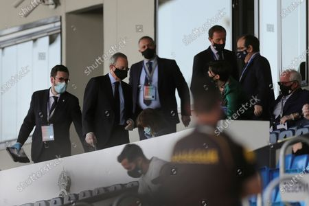 Real Madrid's President Florentino Perez (2-L) ahead of a Spanish LaLiga soccer match between Real Madrid and SD Eibar behind closed doors at Di Stefano stadium in Madrid, Spain, 14 June 2020.