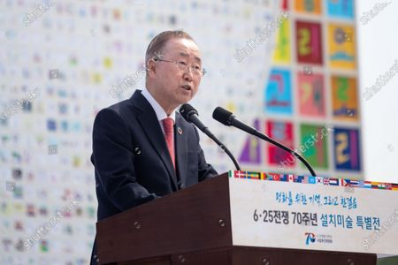 Ban Ki-moon, former Secretary-General of the United Nations gives a congratulatory speech during the 70th anniversary of the Korean War in Seoul, South Korea.