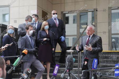 US Ambassador to Russia John Sullivan (R) speaks to media after verdict announcement to US citizen Paul Whelan in espionage case at the Moscow City Court in Moscow, Russia, 15 June 2020. Whelan, a former police officer who holds quadruple citizenship of the United States, Britain, Canada and Ireland, was arrested on suspicion of being a foreign spy by Russia's Federal Security Service (FSB) in late December 2018 in Moscow. The court found him guilty and sentenced Whelan to 16 years' imprisonment in a high-security penitentiary with the possibility of serving time in a labor camp.