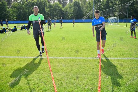 Stock Picture of Genk's goalkeeper Daniel Danny Vukovic and Genk's Luca Oyen pictured during the first training session for the new season 2020-2021 of Jupiler Pro League first division soccer team KRC Genk, Monday 15 June 2020 in Genk.