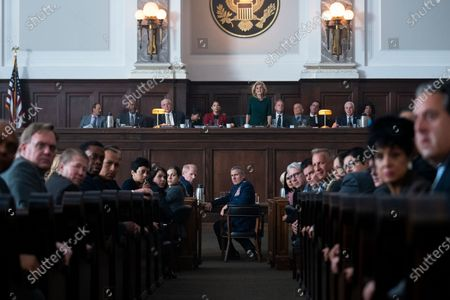 Stock Picture of Alan Blumenfeld as Schugler, Ginger Gonzaga as Anabela Ysidro-Campos, Concetta Tomei as Rep. Pitosi and Tommy Cook as Rep. Bob White, Noah Emmerich as General Kick Grabaston and Steve Carell as General Mark R. Naird