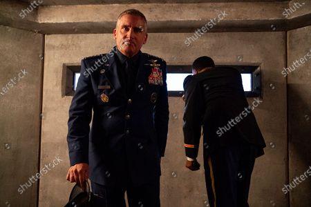 Steve Carell as General Mark R. Naird and Roy Wood Jr. as Liaison Bert Mellows