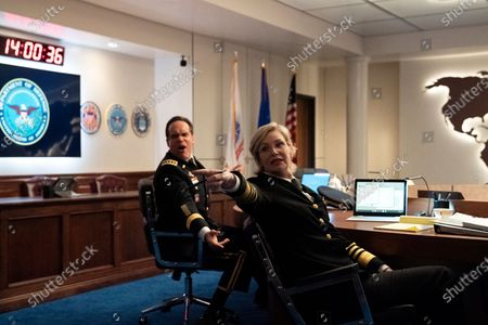 Stock Photo of Diedrich Bader as General Rongley and Jane Lynch as Chief of Naval Operations