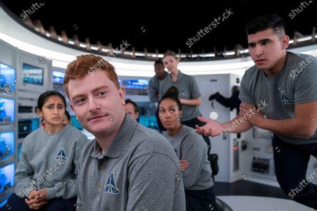 Stock Image of Aparna Nancherla as Pella Bhat, Owen Daniels as Obie Hanrahan, Tawny Newsome as Captain Angela Ali, Amanda Lund as Female Astronaut Anna and Hector Duran as Julio Díaz - José