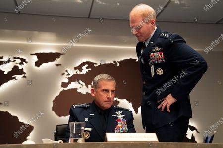 Steve Carell as General Mark R. Naird and Noah Emmerich as General Kick Grabaston
