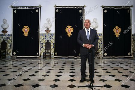 Portuguese Prime Minister Antonio Costa speaks to journalists after the taking office ceremony of the new Minister of State and  Finance Joao Leao (unseen) and new Secretaries of State at Belem Palace in Lisbon, Portugal, 15 June 2020. This is the first remodeling of the XXII Government, and was triggered by the departure of Mario Centeno from the position of Minister of State and Finance, at his request.