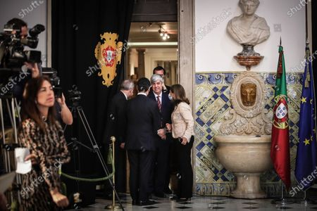 Former Minister of State and Finance Mario Centeno (2-R) after the taking office ceremony of the new Finance Minister and new Secretaries of State, in Lisbon, Portugal, 15 June 2020. This is the first remodelling of the XXII Government, and was triggered by the departure of Mario Centeno from the position of Minister of State and Finance, at his request. The new Minister of State and Finance, Joao Leao, and the new Secretaries of State for the Budget, Claudia Joaquim, of Finance, Joao Nuno Mendes, and Treasury, Miguel Cruz and the Assistant Secretary of State and Finance, Antonio Mendonca Mendes, take office at the ceremony.