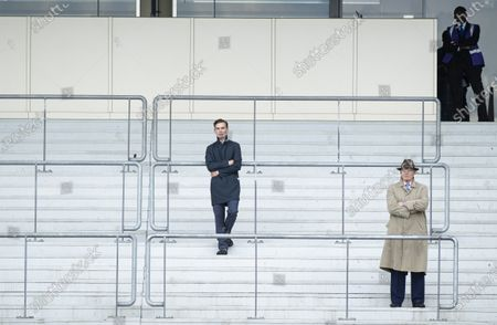 Thady Gosden (L) and John Gosden in the stands watching  the Duke Of Cambridge Stakes 