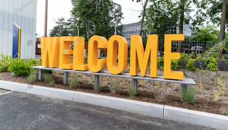 """View of entrance at the Westchester landing of Mario Cuomo Bridge for pedestrian and bike riders path  in Tarrytown. Cuomo is opening up a """"shared use path"""" for pedestrians and bike riders. The path is 3.6 miles long and features 6 scenic overlooks, public art and interactive displays. Photo by Lev Radin/Pacific Press)"""