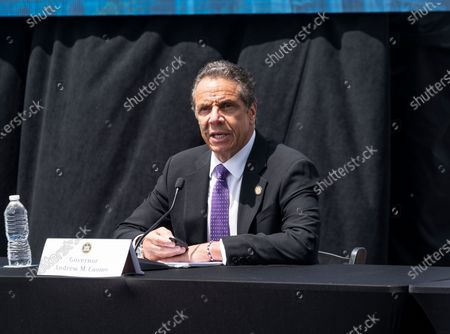 Governor Andrew Cuomo holds daily press briefing at the foot of Mario Cuomo Bridge in Tarrytown. Cuomo is opening up a â€oeshared use pathâ€� for pedestrians and bike riders. The path is 3.6 miles long and features 6 scenic overlooks, public art and interactive displays. Photo by Lev Radin/Pacific Press)