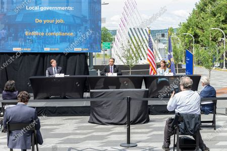 Tarrytown, NY - June 15, 2020: Governor Andrew Cuomo holds daily press briefing at the Westchester landing of Mario Cuomo Bridge in Tarrytown. Photo by Lev Radin/Pacific Press)