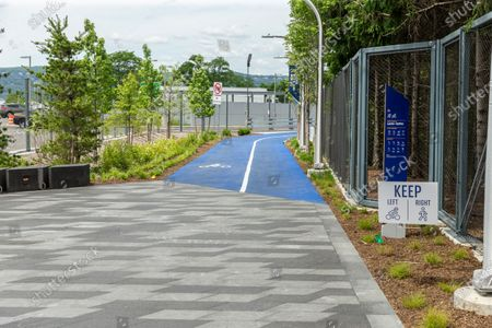 """View of Mario Cuomo Bridge for pedestrian and bike riders path painted in blue in Tarrytown. Cuomo is opening up a """"shared use path"""" for pedestrians and bike riders. The path is 3.6 miles long and features 6 scenic overlooks, public art and interactive displays. Photo by Lev Radin/Pacific Press)"""
