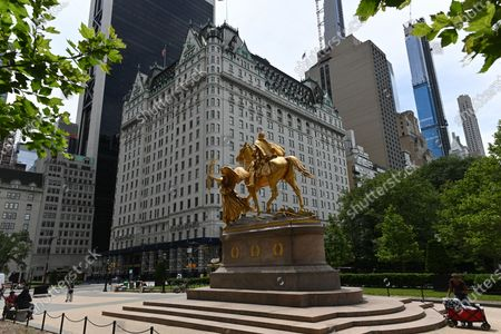 A general view of the golden equestrian statue of William Tecumseh Sherman, by sculptor by Augustus Saint-Gaudens, at Grand Army Plaza
