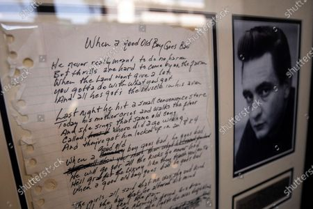 Stock Image of The sheet of paper on which Johnny Cash wrote the song 'When A Good Old Boy Goes Bad' is on display at the Julien's Auctions house in Beverly Hills, California, USA, 15 June 2020. An auction of famous musician's guitars and personal items will take place on 19 and 20 June.