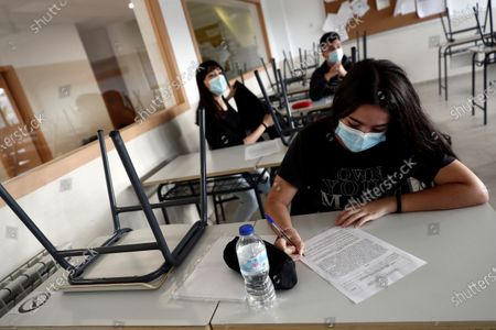 Students attend a class at the High School of Simone Veil for lessons in Paracuellos del Jarama, Madrid, Spain 16 June 2020. On 16 June, schools reopened in the Madrid region with volunteers classes for people preparing to take university's entrance exams on 06 July though to 09 July.