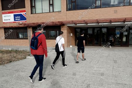 Students arrive at the High School of Simone Veil for lessons in Paracuellos del Jarama, Madrid, Spain 16 June 2020. On 16 June, schools reopened in the Madrid region with volunteers classes for people preparing to take university's entrance exams on 06 July though to 09 July.