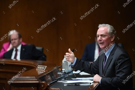 United States Senator Chris Van Hollen (Democrat of Maryland) speaks to Ajit Pai, Chairman, Federal Communications Commission (FCC), during an oversight hearing to examine the Federal Communications Commission spectrum auctions program for fiscal year 2021. The hearing was held by the US Senate Appropriations Subcommittee on Financial Services and General Government.