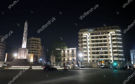 General view of the obelisk during the renovation of Tahrir Square, in Cairo, Egypt,  16 June 2020. According to reports, Egyptian government at the end of December 2019 issued a decision for the renovation of the iconic Tahrir square, that was the stage of anti-government protests that led to the ousting of former president Hosni Mubarak in 2011. The renovation process includes the relocating of four rams from Karnak Temple's Hall of Celebration in Luxor and an obelisk from Sun Al-Hajar in the east of Egypt, a decision that raised concerns from experts and archeologists.
