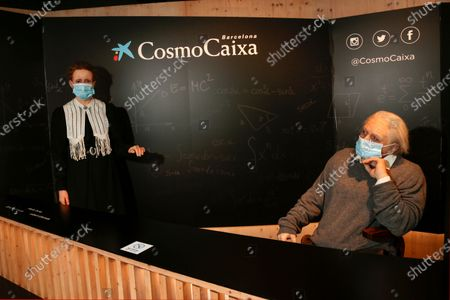 (L-R) Marie Curie and Albert Einstein wax figures are seen wearing face mask at Cosmo Caixa Science Museum. Museums and restaurants have reopened with some restrictions
