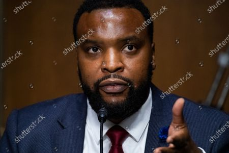 "S. Lee Merritt, Esq., Attorney, Merritt Law Firm, testifies during the United States Senate Judiciary Committee hearing titled ""Police Use of Force and Community Relations,"" in Dirksen Senate Office Building in Washington, D.C.,."