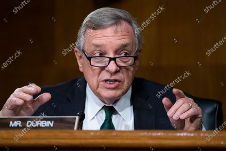 "United States Senator Dick Durbin (Democrat of Illinois) asks questions during the US Senate Judiciary Committee hearing titled ""Police Use of Force and Community Relations,"" in Dirksen Senate Office Building in Washington, D.C.,."