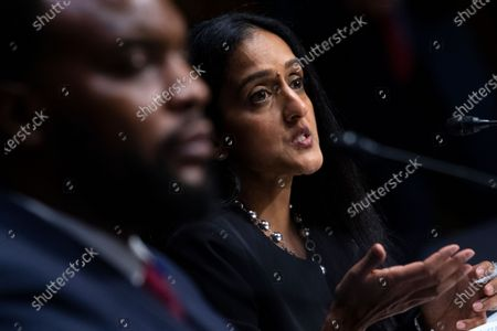 "Vanita Gupta, president and CEO of The Leadership Conference on Civil & Human Rights, testifies during the US Senate Judiciary Committee hearing titled ""Police Use of Force and Community Relations,"" in Dirksen Senate Office Building in Washington, D.C.,."