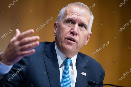 "United States Senator Thom Tillis (Republican of North Carolina) asks a question duringthe US Senate Judiciary Committee hearing titled ""Police Use of Force and Community Relations,"" in Dirksen Senate Office Building in Washington, D.C.,."