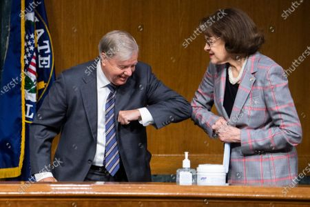 "Stock Picture of United States Senator Lindsey Graham (Republican of South Carolina), Chairman, US Senate Judiciary Committee, greets US Senator Dianne Feinstein (Democrat of California), Ranking Member, US Senate Judiciary Committee, before the US Senate Judiciary Committee hearing titled ""Police Use of Force and Community Relations,"" in Dirksen Senate Office Building in Washington, D.C.,."