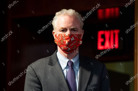 U.S. Senator, Chris Van Hollen (D-MD) wearing a University of Maryland Terps face mask at the weekly Senate Democratic caucus press conference at U.S Capitol.