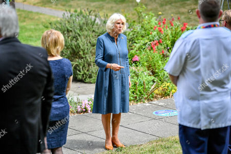 Camilla Duchess of Cornwall chats with NHS staff and front line key workers who who have responded to the COVID-19 pandemic during a visit to Gloucestershire Royal Hospital.