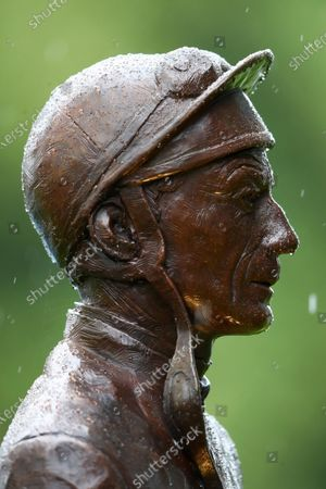 ASCOT, ENGLAND - JUNE 18:  A statue of Lester Piggott is seen in the rain on Day Three of Royal Ascot 2020 at Ascot Racecourse on June 18, 2020 in Ascot, England. (Photo by Julian Finney/Getty Images) supplied by Hugh Routledge.