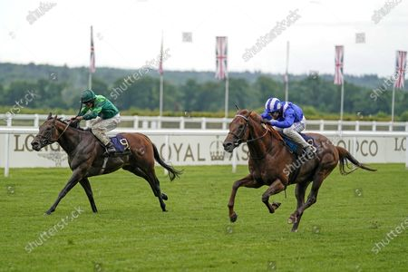 ASCOT, ENGLAND - JUNE 18: Jim Crowley riding Molatham (blue) win The Jersey Stakes from Monarch Of Egypt and Ryan Moore (green) at Ascot Racecourse on June 18, 2020 in Ascot, England. (Photo by Alan Crowhurst/Getty Images) supplied by Hugh Routledge.