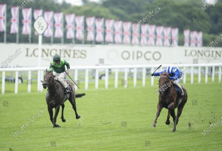 Jim Crowley riding Molatham (R) beats Monarch Of Egypt (Ryan Moore) in the Jersey StakesRoyal Ascot 18.6.20 Pic: Edward Whitaker/ Racing Post, supplied by Hugh Routledge.