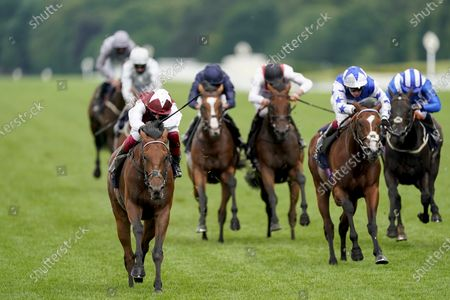 ASCOT, ENGLAND - JUNE 19: Frankie Dettori riding Fanny Logan (L, maroon/white) win The Hardwicke Stakes on Day Four of Royal Ascot at Ascot Racecourse on June 19, 2020 in Ascot, England.  (Photo by Alan Crowhurst/Getty Images), supplied by Hugh Routledge.